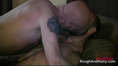 Two hairy gay dudes love sucking hard video