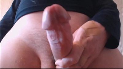 My solo Huge spurt from my hairy cock hits the lens