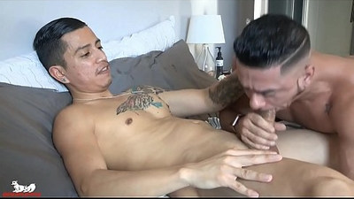 Aaron makes a move for Cesar thick, uncut cock