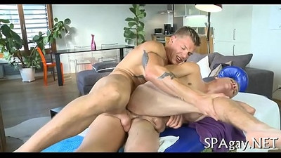 Homosexual male massage movie scene