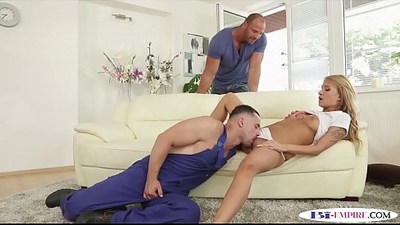 Muscular plumber sucks dick and bangs pussy