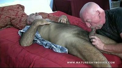 two old guy bareback in a motel room.